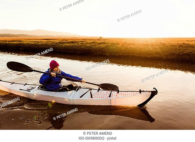 Mid adult woman kayaking on river at sunset, Morro Bay, California, USA