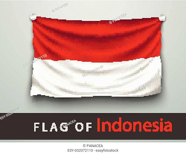 FLAG OF Indonesia battered, hung on the wall, screwed screws