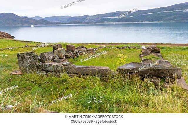 The norse ruins. The settlement Qassiarsuk, probably the old Brattahlid, the home of Erik the Red. America, North America, Greenland, Denmark