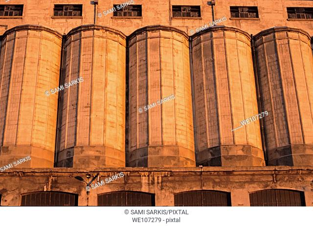 Grain silos at sunset, Marseille, France