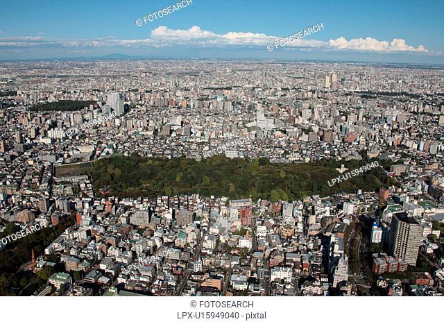 Aerial view of Koishikawa botanical garden, Bunkyo ward, Tokyo Prefecture, Honshu, Japan