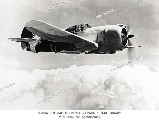 A USAF Curtiss P-36A Hawk Flying over Cloud