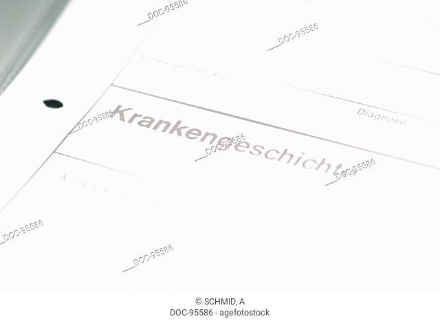 a detail shot of a medical form