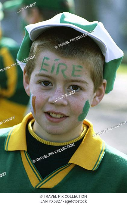 St.Patricks Day / Boy Dressed in Irish Colours / Portrait, Dublin, Ireland
