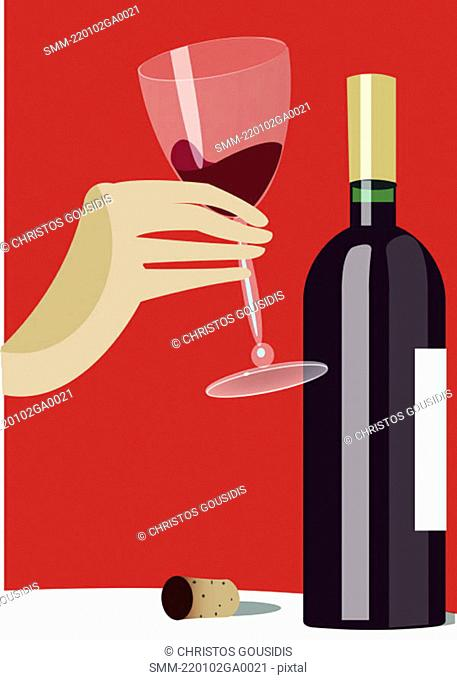 Tasting a bottle of red wine