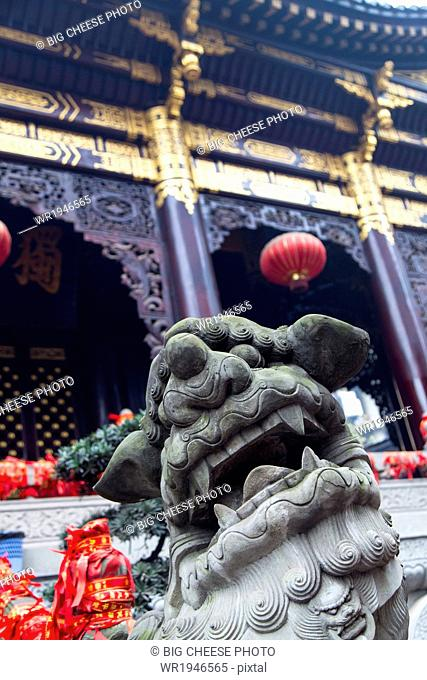 Statue of a Chinese foo dog at Luohan Si Arhat temple, Chongqing, China