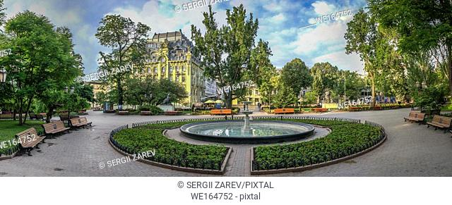 Panoramic view in the Odessa City garden, Ukraine, on a sunny spring morning