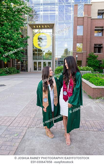 EUGENE, OR - MAY 22, 2017: Best friends and sorority sisters pose together for a photo on campus at the University of Oregon in Eugene
