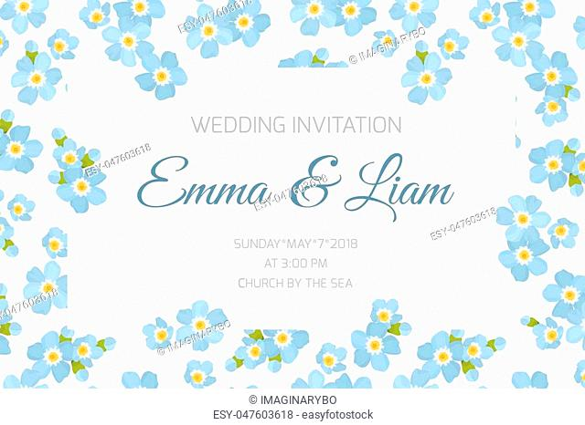 Wedding marriage event invitation card template. Rectangular border frame decorated with sky blue forget-me-not myosotis flowers inflorescence