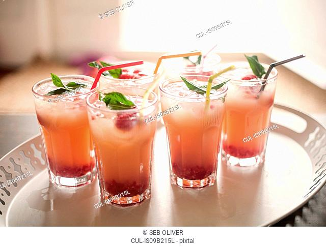 Cocktails garnished with mint