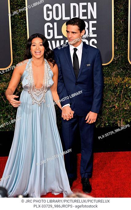 LOS ANGELES, CA. January 06, 2019: Gina Rodriguez & Joe Locicero at the 2019 Golden Globe Awards at the Beverly Hilton Hotel