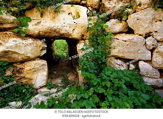 Talayotic settlement dating from the Bronze Age, Els Antigors, Ses Salines. Majorca, Balearic Islands, Spain