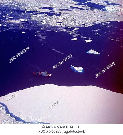 Research ship FS Polarstern and icebergs in the Weddell Sea, Antarctica