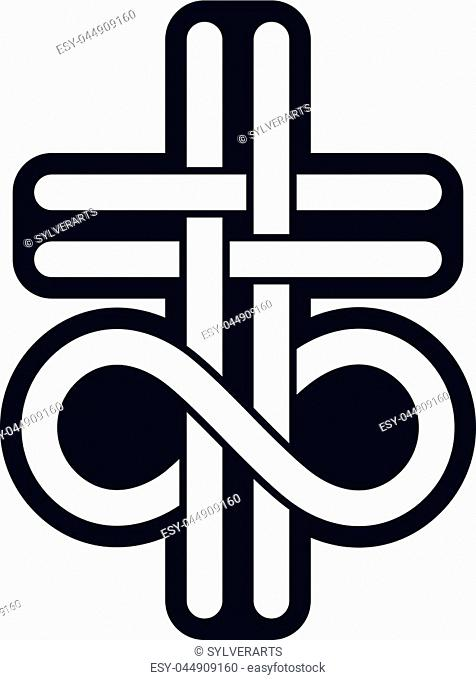 Immortal God conceptual logo design combined with infinity loop sign and Christian Cross, vector creative symbol