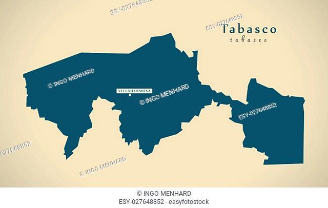 Modern Map - Tabasco Mexico MX illustration