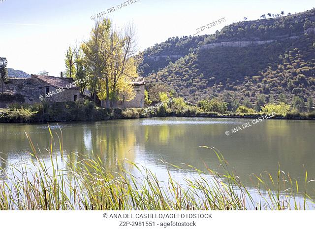 Autumn country and old pond in Mora de Rubielos. Teruel, Aragon, Spain