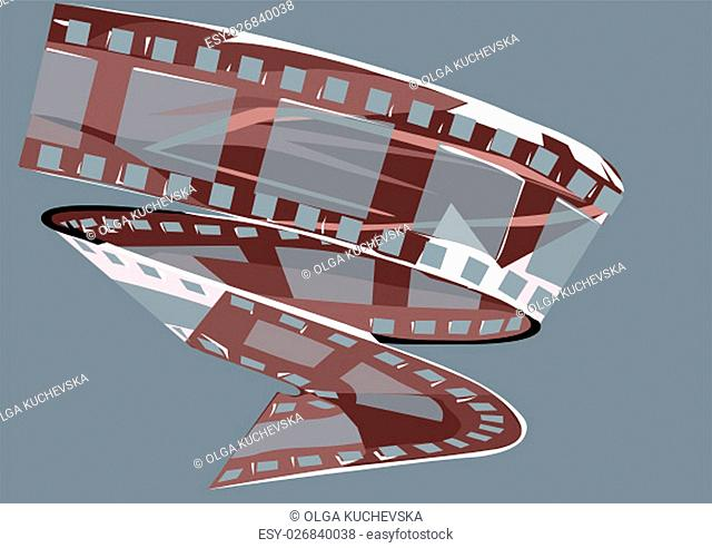 film strip. a reel of film on blue background