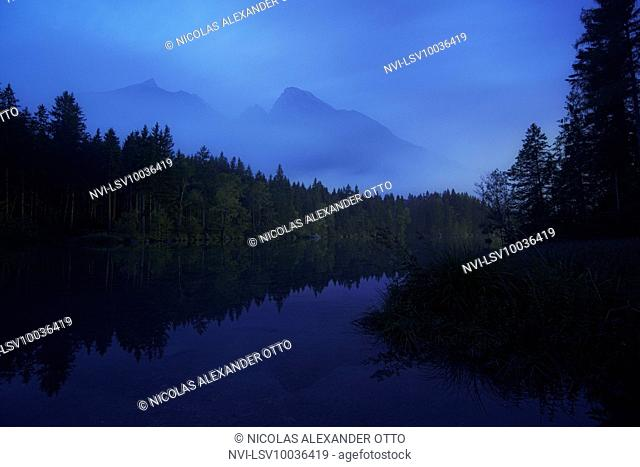 Hochkalter massif at blue hour, Hintersee, Berchtesgaden, Bavaria, Germany