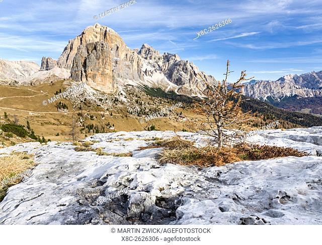 The peaks of Mount Tofane and the Cinque Torri (foreground) in the Dolomites of Cortina d'Ampezzo. The Dolomites are listed as UNESCO World heritage