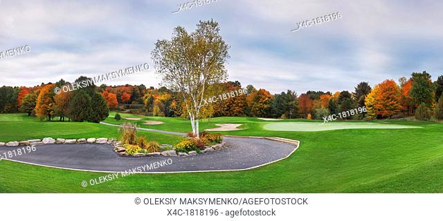 Golf course and colorful autumn trees, beautiful panoramic fall nature scenery at dawn  Muskoka, Ontario, Canada