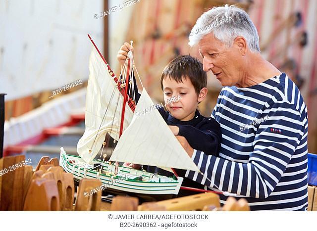 Grandfather and grandson, Building model sailboat, Whaleship, Pasaia, Gipuzkoa, Basque Country, Spain, Europe