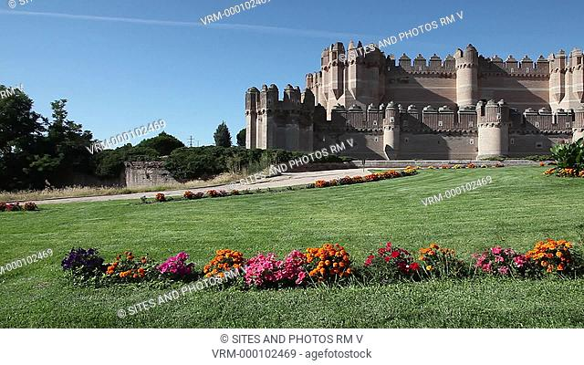 Exterior, PAN, Daylight, view of the Castle of Coca Castillo de Coca, built in 1453 by Avila's Bishop. Seen is a general view of the Castle's defensive walls