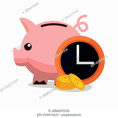 Piggy clock and coins icon. Money financial item commerce and market theme. Colorful design. Vector illustration