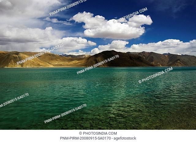Lake with mountain ranges in the background, Pangong Tso Lake, Ladakh, Jammu and Kashmir, India