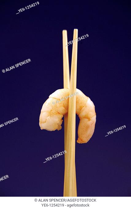 Cooked Prawn and Chop Sticks