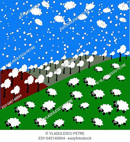 sheep and snowflakes in the mountains