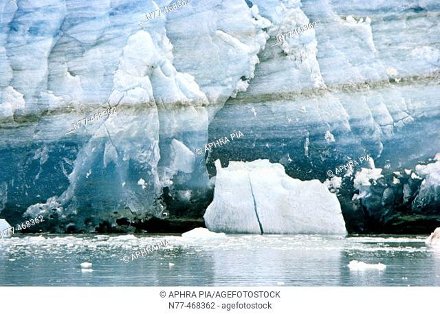 Base of tidewater glacier. Glacier Bay National Park. Alaska, USA