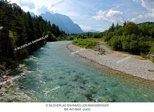 Isar and Karwendel mountains, Isar nature trail, Krün, Mittenwald, Upper Bavaria, Bavaria, Germany