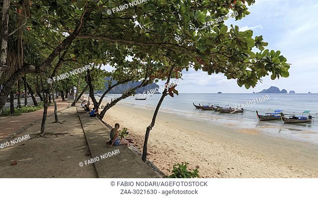 Ao Nang, Thailand - January 27, 2018: Local people and tourists on Ao Nang beach, Krabi