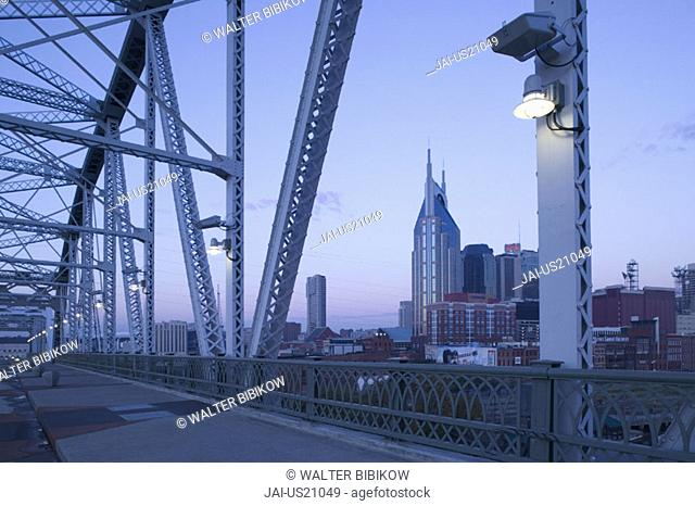 Downtown from Shelby Street Bridge, Nashville, Tennessee, USA