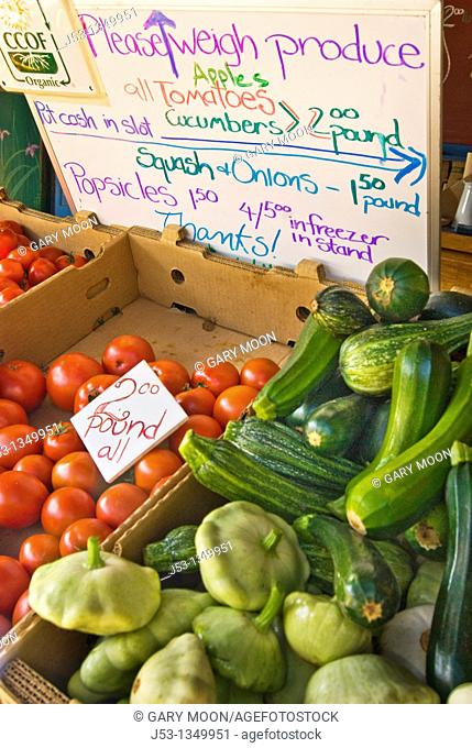 Fresh organic vegetables at roadside produce stand, Pepperwood, California