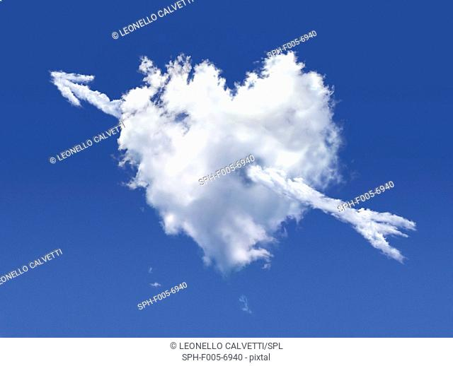 Heart-shaped cloud, computer artwork
