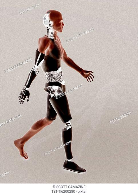 Cyborg walking on binary code background