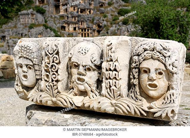 Stone relief, masks, Myra, Demre, Lycia, Province of Antalya, Turkey