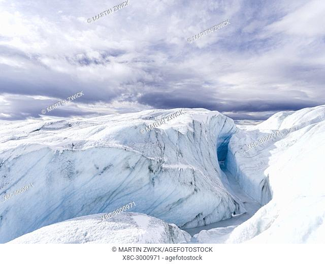 Landscape on the Greenland Ice Sheet near Kangerlussuaq. America, North America, Greenland, Denmark