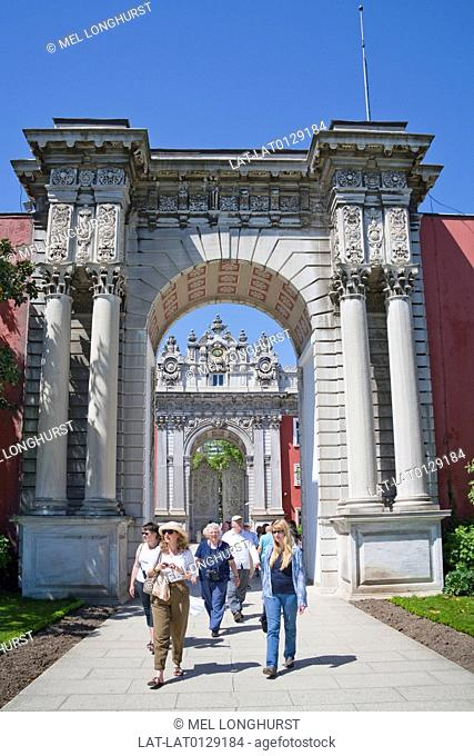 The Treasury Gate, Hazine Kapisi, is a huge arch decorated in the neo baroque style on the perimeter wall of the Dolmabahce Palace on the shores of the...