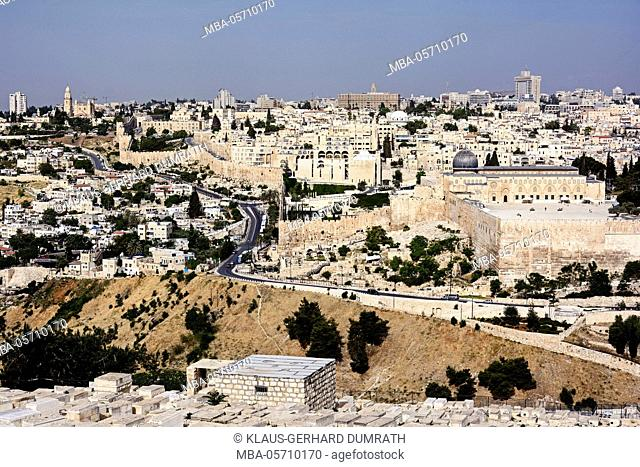 Israel, Jerusalem, the Mount of Olives, cityscape, old town, churches, city wall, cemetery, religion