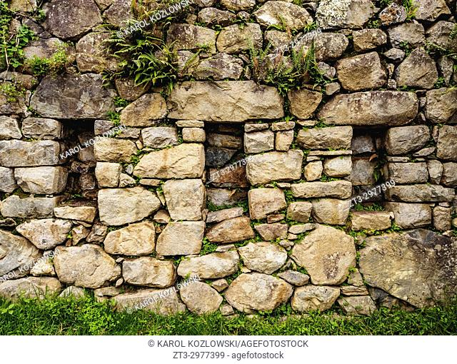 Trapezoidal niches, Inca Stonework, Machu Picchu, Cusco Region, Peru
