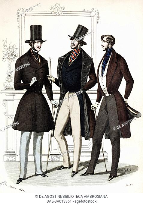 Male sketches in morning suit with stick and top hat, plate 49 taken from Parisian Fashion, Il Corriere delle Dame (Ladies' Courier), 11th October 1842
