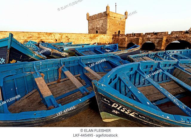 Fishing boats in the marina near the ancient Portuguese Citadel, Essaouira, Morocco