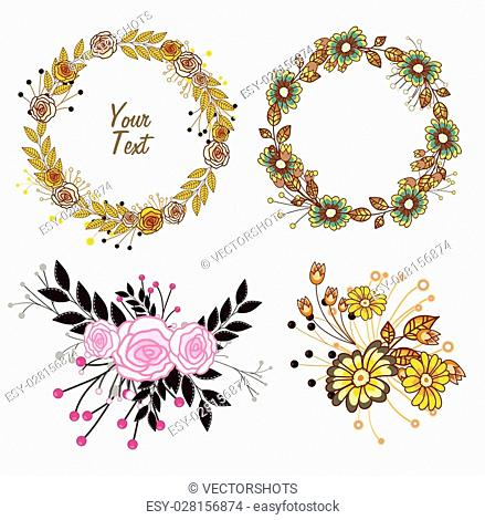 Set of Wreath and Flowers Bunch Vector Illustration
