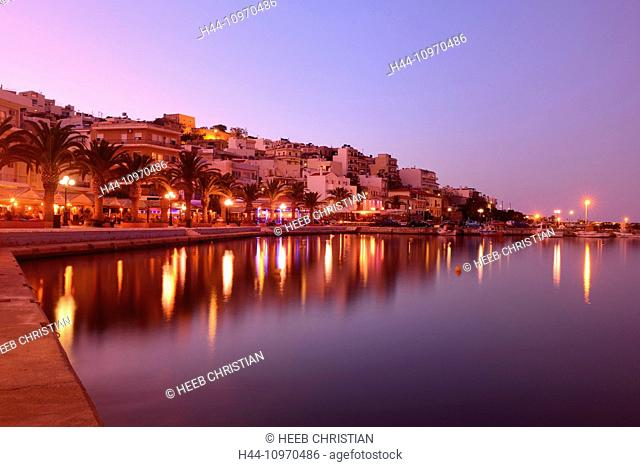 Europe, Greece, Greek, Crete, Mediterranean, island, Sitia, night, lights, restaurants