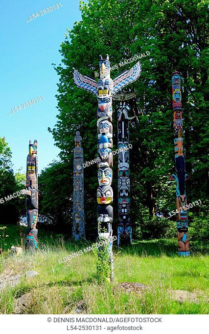 Stanley Park Totem Poles Vancouver British Columbia Canada
