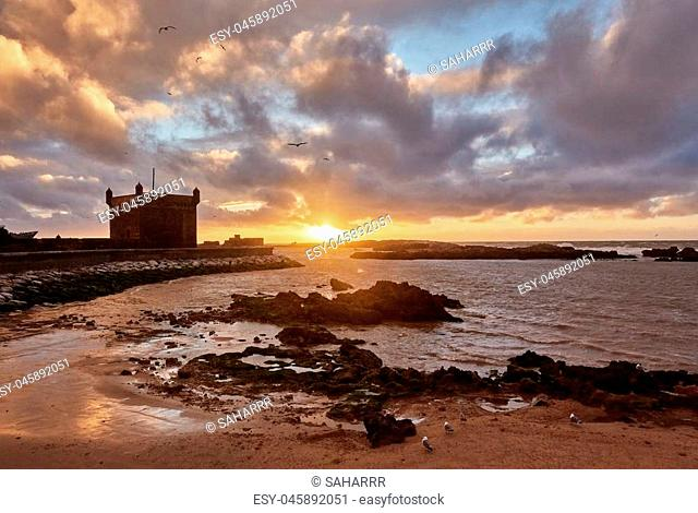 dramatic amazing View of the old fort of Essaouira at sunset, Morocco