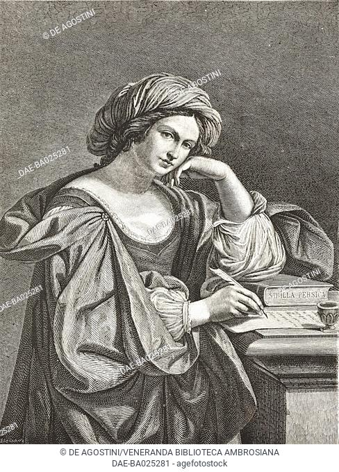 The Persian Sibyl, painting by Giovanni Francesco Barbieri, known as Guercino (1591-1666), Capitoline Hill Gallery, Rome, Lazio, Italy, drawing by Tofanelli