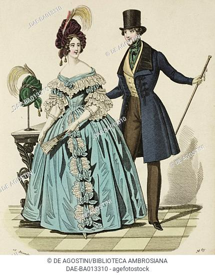 Female sketch in light blue dress and hat decorated with feathers and male sketch in morning suit, top hat and walking stick